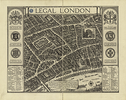 Legal London, A Map showing the Inns of Court and places frequented by the Learned in Law